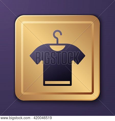 Purple T-shirt Icon Isolated On Purple Background. Gold Square Button. Vector