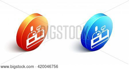 Isometric Cashier At Cash Register Supermarket Icon Isolated On White Background. Shop Assistant, Ca