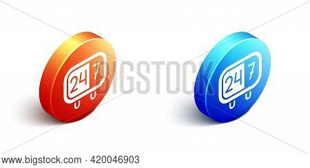 Isometric Clock 24 Hours Icon Isolated On White Background. All Day Cyclic Icon. 24 Hours Service Sy