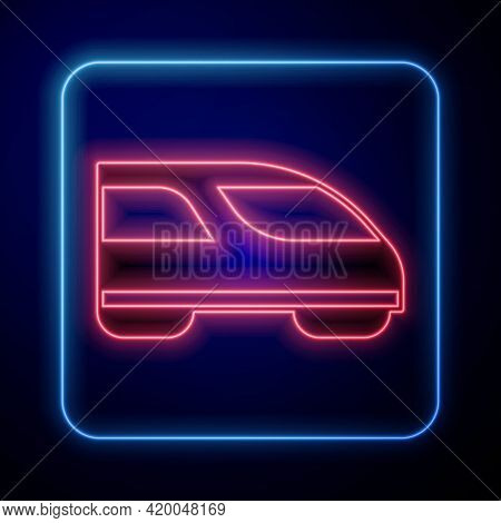 Glowing Neon High-speed Train Icon Isolated On Black Background. Railroad Travel And Railway Tourism