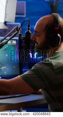 Man Streamer Cyber Checking Sound At Mixer Streaming Videogame