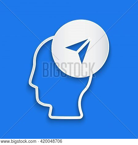 Paper Cut Map Marker With A Silhouette Of A Person Icon Isolated On Blue Background. Gps Location Sy
