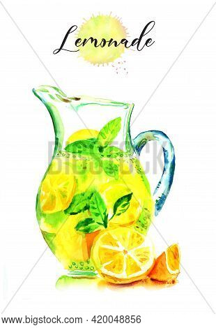 Watercolor Pattern Jars With Lemonade. Lemons And Other Fruits In A Glass Can Of Lemonade
