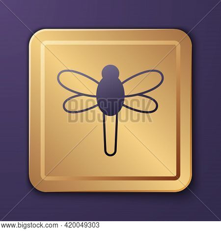 Purple Dragonfly Icon Isolated On Purple Background. Gold Square Button. Vector
