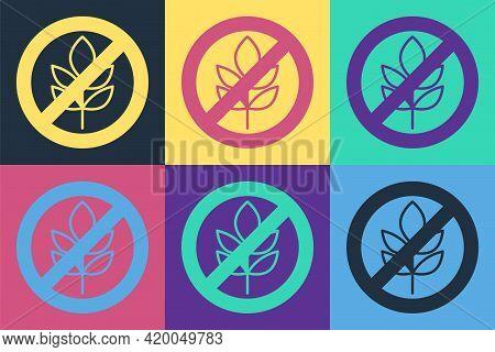 Pop Art Gluten Free Grain Icon Isolated Pop Art Background. No Wheat Sign. Food Intolerance Symbols.