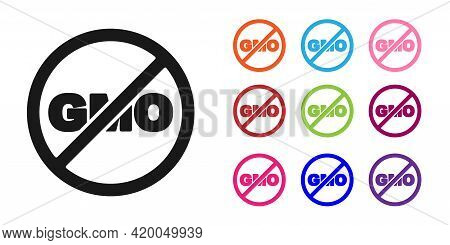 Black No Gmo Icon Isolated Black Background. Genetically Modified Organism Acronym. Dna Food Modific