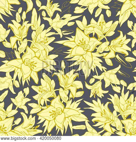 Trendy Colors Seamless Pattern With Blow Up Silhouettes Of Yellow Illuminating Lily Flowers, Buds An