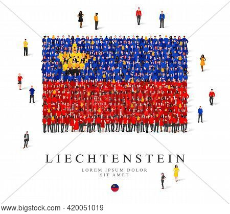 A Large Group Of People Are Standing In Blue, Yellow, Black And Red Robes, Symbolizing The Flag Of L