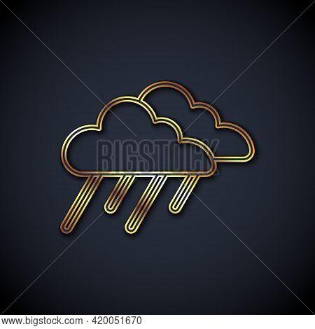 Gold Line Cloud With Rain Icon Isolated On Black Background. Rain Cloud Precipitation With Rain Drop