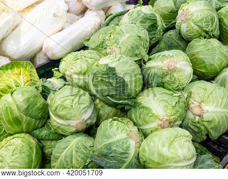 Fresh Cabbage On The Shelf In The Supermarket. Vegetable Department In A Supermarket.