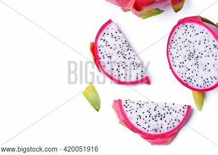 Isolated Dragon Fruit. Top View Dragon Fruit, Pitaya Or Pitahaya On White Background. Clipping Paths