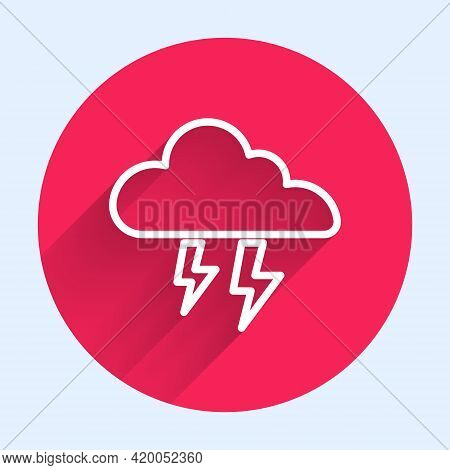 White Line Storm Icon Isolated With Long Shadow. Cloud And Lightning Sign. Weather Icon Of Storm. Re