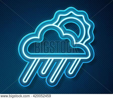 Glowing Neon Line Cloud With Rain And Sun Icon Isolated On Blue Background. Rain Cloud Precipitation