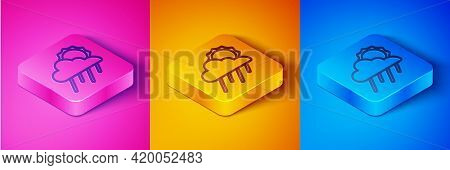 Isometric Line Cloud With Rain And Sun Icon Isolated On Pink And Orange, Blue Background. Rain Cloud