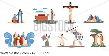 A Set Of Scenes With Christian Religion Characters From Story Of Holy Bible.