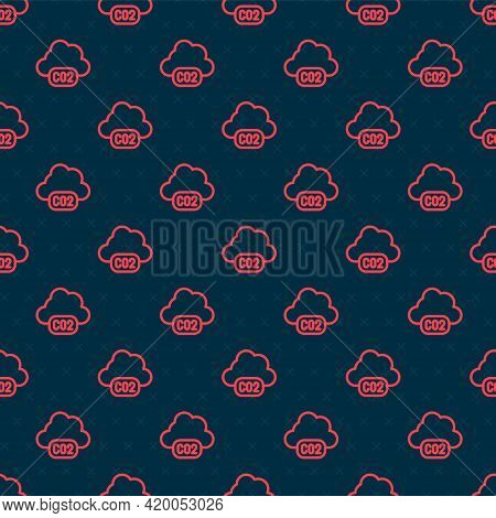 Red Line Co2 Emissions In Cloud Icon Isolated Seamless Pattern On Black Background. Carbon Dioxide F