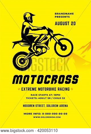 Motocross Poster Or Flyer Event Modern Typography Design Template And Off Road Motorcycle With Biker