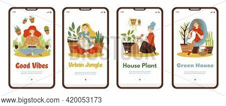 Onboarding Pages On Green House And Home Houseplanting Flat Vector Illustration.