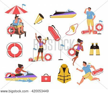 Beach Lifeguards Rescue Team Characters Flat Vector Illustration Isolated.