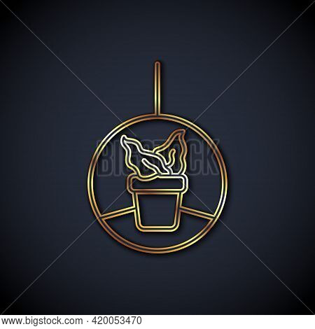 Gold Line Plant In Hanging Pot Icon Isolated On Black Background. Decorative Macrame Handmade Hanger
