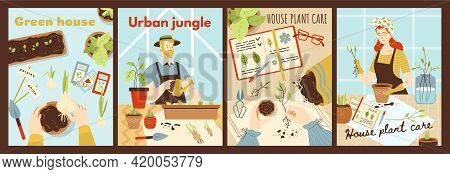 Set Of Cards To Houseplanting And Green House, Flat Vector Illustration.