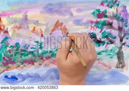 Diy, Learning To Draw, Hobbies. Paint A Picture On Paper. Step 11: Emphasize The Mountains. A Woman'