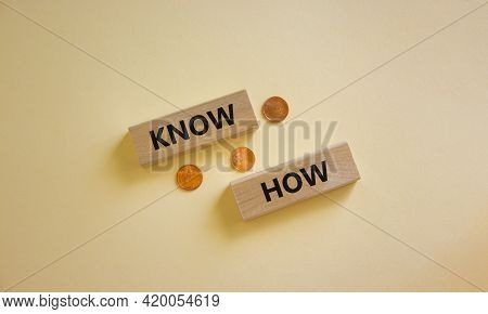 Know How Symbol. Wooden Blocks With Words 'know How' On Beautiful White Background, Copy Space. Meta