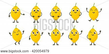 Cartoon Funny Fruits. Happy Lemon With Face. Summer Fruit Lemon Characters Isolated On White. Vector