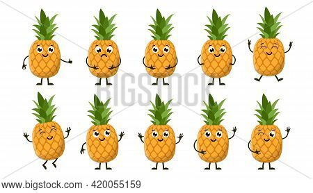 Cartoon Funny Fruits. Happy Pineapple With Face. Summer Fruit Pineapple Characters Isolated On White