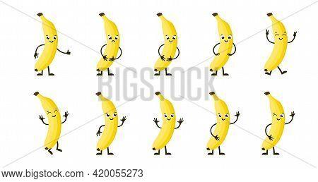 Cartoon Funny Fruits. Happy Banana With Face. Summer Fruit Banana Characters Isolated On White. Vect