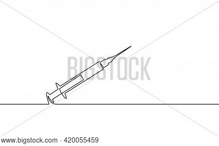 Vaccine Syringe One Single Line Art Concept. Pandemic Covid Coronavirus Safe Hand Drawn Sketch. Inje