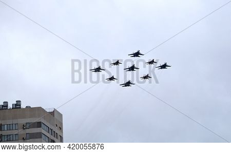 Moscow, Russia - May 7, 2021: Airplanes Of Aerobatic Groups Russian Knights And Swifts On Mig-29 And