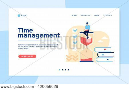 Time Management Landing Page. Man Sitting On Hourglass With Books, Effective Work Organization, Plan