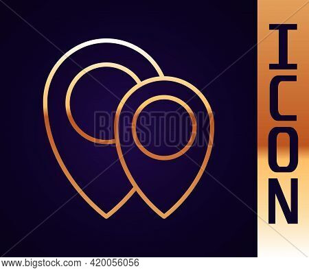 Gold Line Map Pin Icon Isolated On Black Background. Navigation, Pointer, Location, Map, Gps, Direct