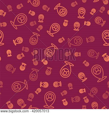 Brown Line Map Marker With A Silhouette Of A Person Icon Isolated Seamless Pattern On Red Background