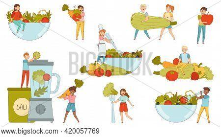 People Characters Bringing Huge Vegetables Into Bowl And Blender Vector Illustration Set