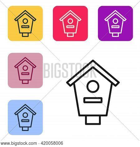 Black Line Bird House Icon Isolated On White Background. Nesting Box Birdhouse, Homemade Building Fo