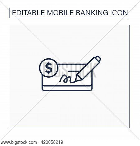 Pay In Cheques Line Icon. Paying Purchases Using Cheques. Written On A Specially Printed Form. Easy