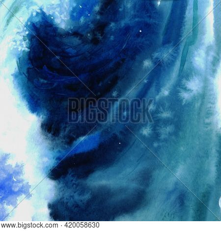Watercolor Blue Sea Background With Space For Text