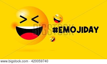 Happy Emoji Day Background Illustration Vector. Smile Emoji Illustration.