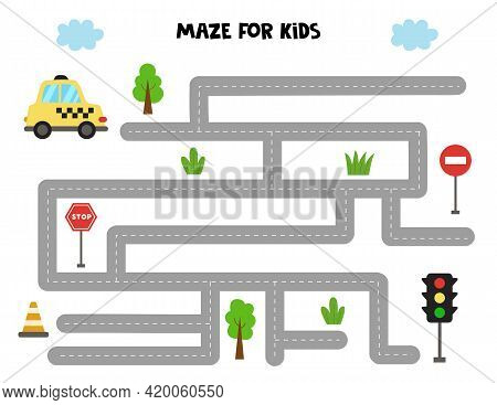 Maze With Cartoon Taxi Cab And Traffic Lights. Logical Game For Kids.