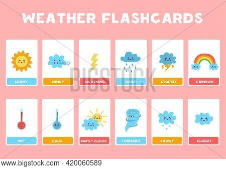 Flashcards For Kids With Cute Weather Events. Vector Illustration Of Weather Phenomenon.
