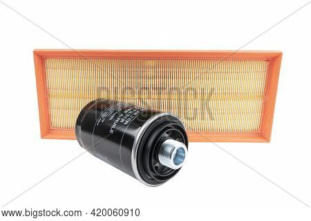 Oil Filter And Air Filter Isolated On White Background With Clipping Path. Spare Parts Of A Car Isol