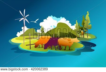 Banner Cartoon Illustration Of Pastures And Meadows, Countryside Landscape, Eco Friendly Farms With