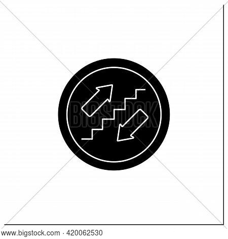 Stairs Symbol Glyph Icon. Stairway Sign. Upstairs And Downstairs. Public Place Navigation. Universal