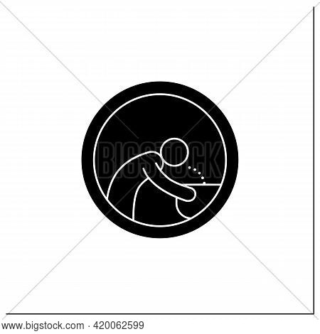Drinking Fountain Symbol Glyph Icon. Man Drinks Water From Hand Drinking Fountain. Public Place Navi