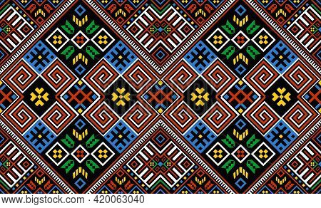 Bohemian, Fashionable Seamless Ornament In Ethnic Hutsul Style. In Modern Trendy Shades. Perfect For
