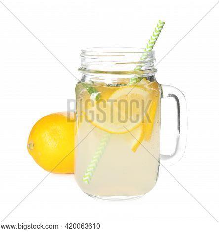 Cool Freshly Made Lemonade In Mason Jar Isolated On White