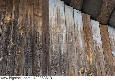 Texture Of Old Brown Wooden Fence With Copy Space