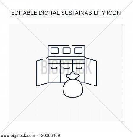Console Waste Line Icon. Confidential Waste Disposal Bins. Recycle. Utilization. Digital Sustainabil